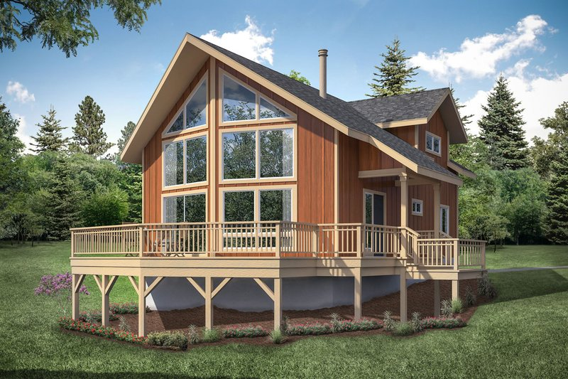 Cabin Style House Plan - 2 Beds 2 Baths 1509 Sq/Ft Plan #124-1158 Exterior - Front Elevation
