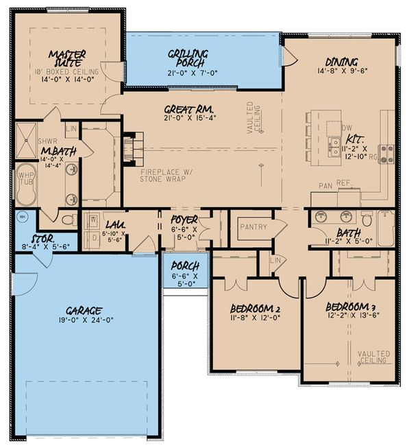 European Floor Plan - Main Floor Plan Plan #923-48