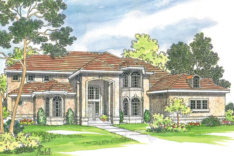Mediterranean Exterior - Front Elevation Plan #124-350