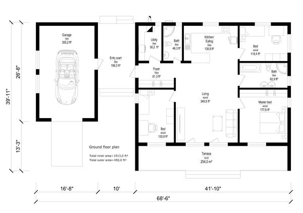Modern Floor Plan - Main Floor Plan Plan #549-21