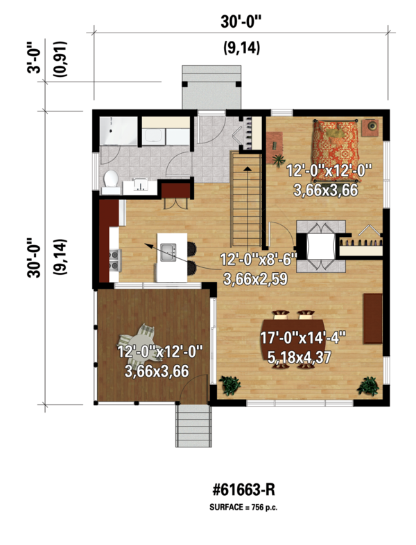 Contemporary Floor Plan - Main Floor Plan Plan #25-4524