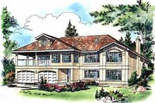European Exterior - Front Elevation Plan #18-141