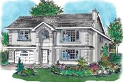 European Style House Plan - 3 Beds 2 Baths 1288 Sq/Ft Plan #18-226 Exterior - Front Elevation
