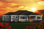 Ranch Style House Plan - 3 Beds 2.5 Baths 2507 Sq/Ft Plan #70-1223 Exterior - Rear Elevation
