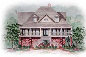 Southern Exterior - Front Elevation Plan #54-119