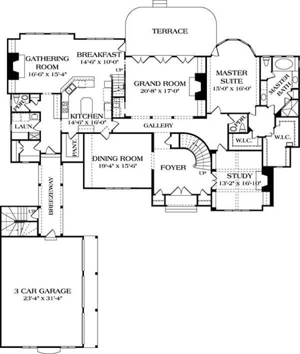European Floor Plan - Main Floor Plan Plan #453-26