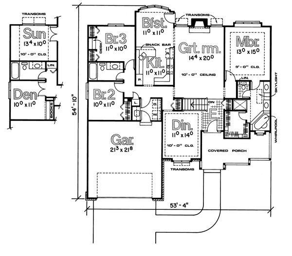 Traditional Floor Plan - Main Floor Plan #20-138
