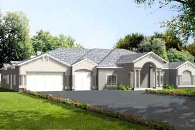 Adobe / Southwestern Style House Plan - 4 Beds 4 Baths 3788 Sq/Ft Plan #1-877 Exterior - Front Elevation
