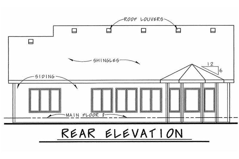 Bungalow Exterior - Rear Elevation Plan #20-1606