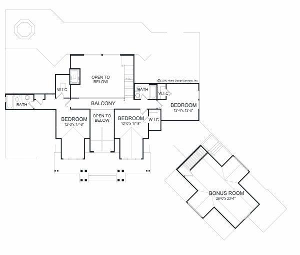 Log Floor Plan - Upper Floor Plan Plan #417-412