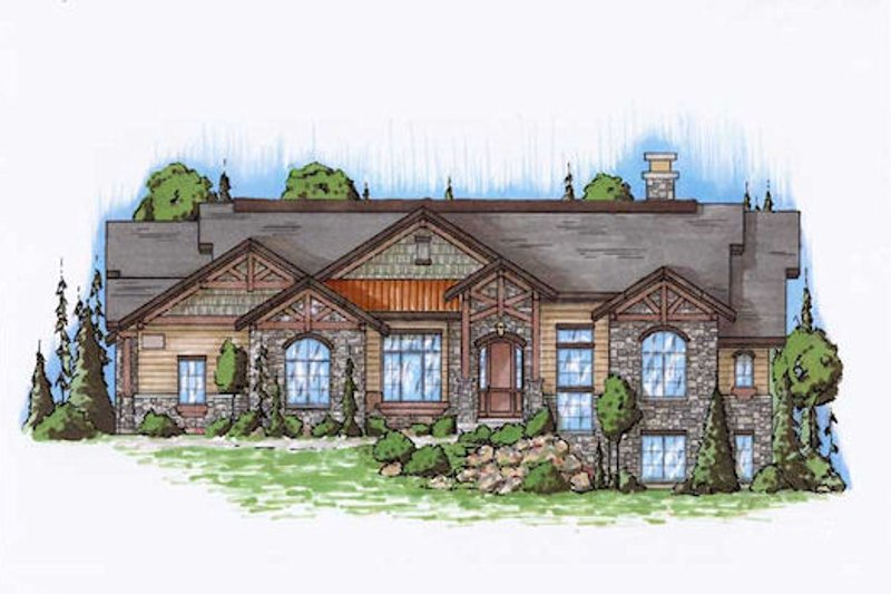 Traditional Style House Plan - 4 Beds 4.5 Baths 2573 Sq/Ft Plan #5-302 Exterior - Front Elevation