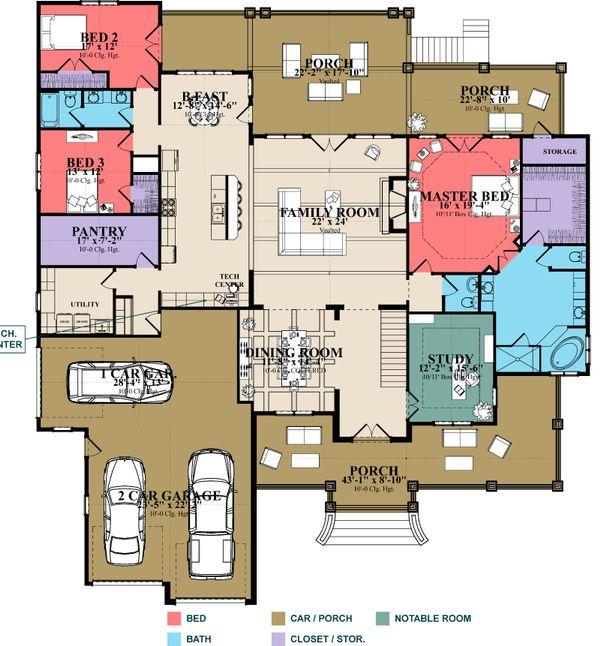Craftsman Floor Plan - Main Floor Plan #63-422