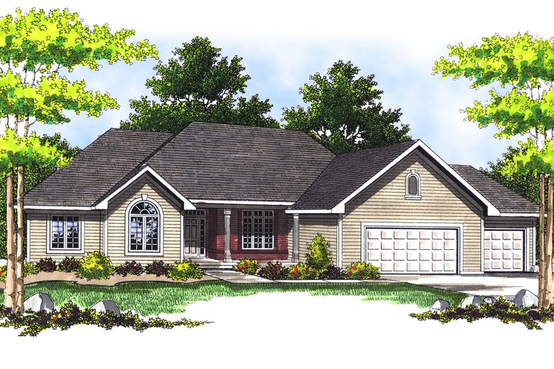 Traditional Exterior - Front Elevation Plan #70-282 - Houseplans.com