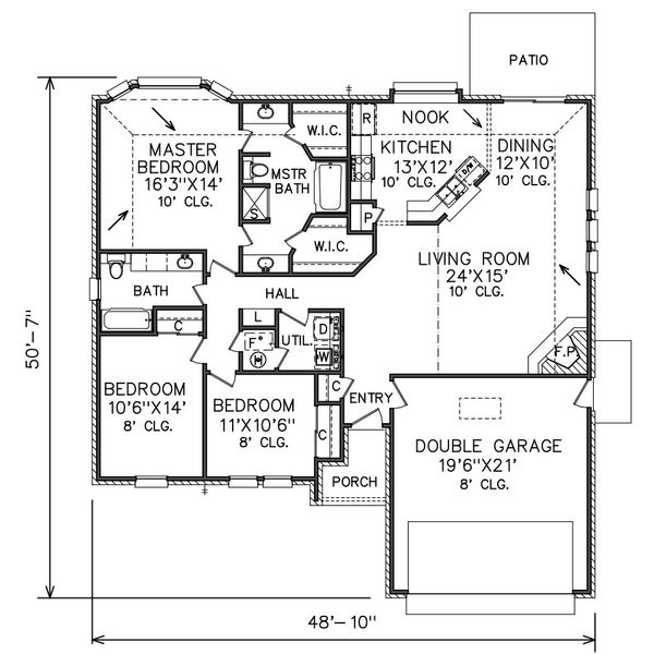 Traditional Floor Plan - Main Floor Plan Plan #65-110