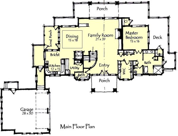 Craftsman Floor Plan - Main Floor Plan Plan #921-15