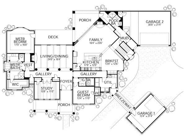 House Plan Design - European Floor Plan - Main Floor Plan #80-161