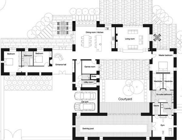 Modern Floor Plan - Main Floor Plan Plan #520-7