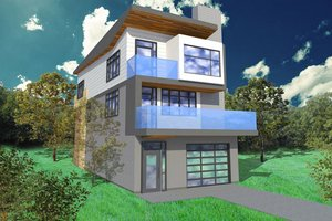 Modern Exterior - Front Elevation Plan #518-2