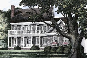 Southern Exterior - Front Elevation Plan #137-174