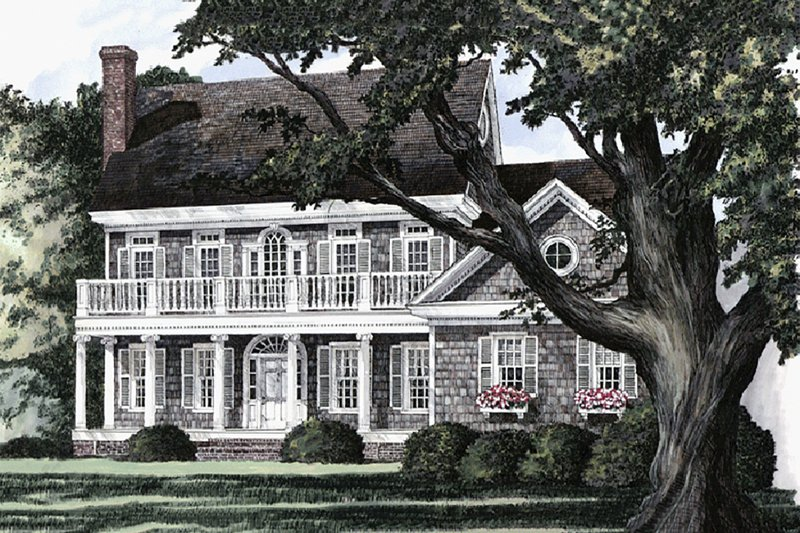 Southern Exterior - Front Elevation Plan #137-174 - Houseplans.com