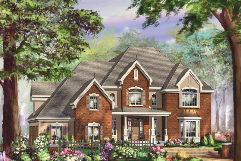 European Style House Plan - 3 Beds 2 Baths 3851 Sq/Ft Plan #25-4782 Exterior - Front Elevation
