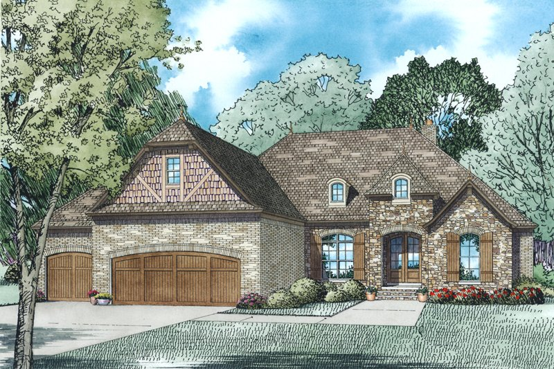 European Exterior - Front Elevation Plan #17-2493 - Houseplans.com