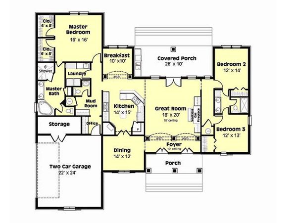 European Floor Plan - Main Floor Plan Plan #44-181