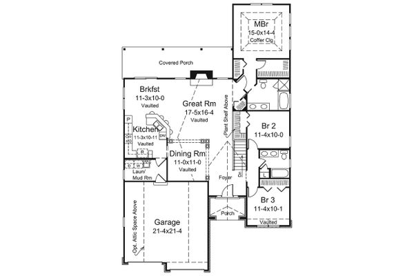 Dream House Plan - Ranch Floor Plan - Main Floor Plan #57-653