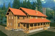 Log Style House Plan - 3 Beds 4 Baths 3324 Sq/Ft Plan #117-116 Exterior - Front Elevation