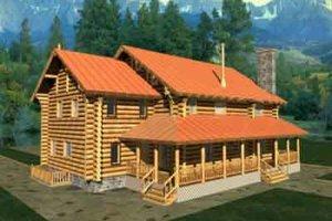 Log Exterior - Front Elevation Plan #117-116