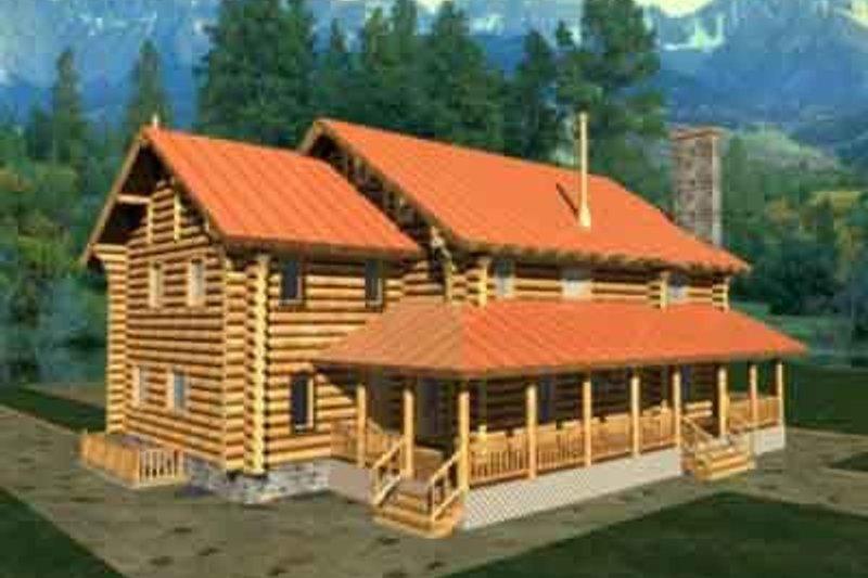Home Plan - Log Exterior - Front Elevation Plan #117-116