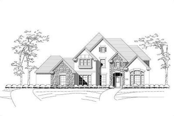 European Exterior - Front Elevation Plan #411-831