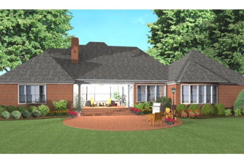 Southern Exterior - Rear Elevation Plan #406-137 - Houseplans.com