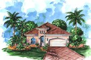 Mediterranean Style House Plan - 3 Beds 2 Baths 2165 Sq/Ft Plan #27-227 Exterior - Front Elevation