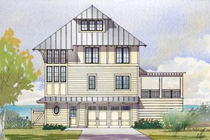 Beach Exterior - Front Elevation Plan #901-125