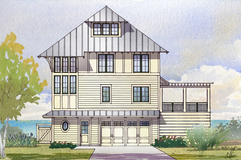 Beach Style House Plan - 5 Beds 4 Baths 3331 Sq/Ft Plan #901-125 Exterior - Front Elevation