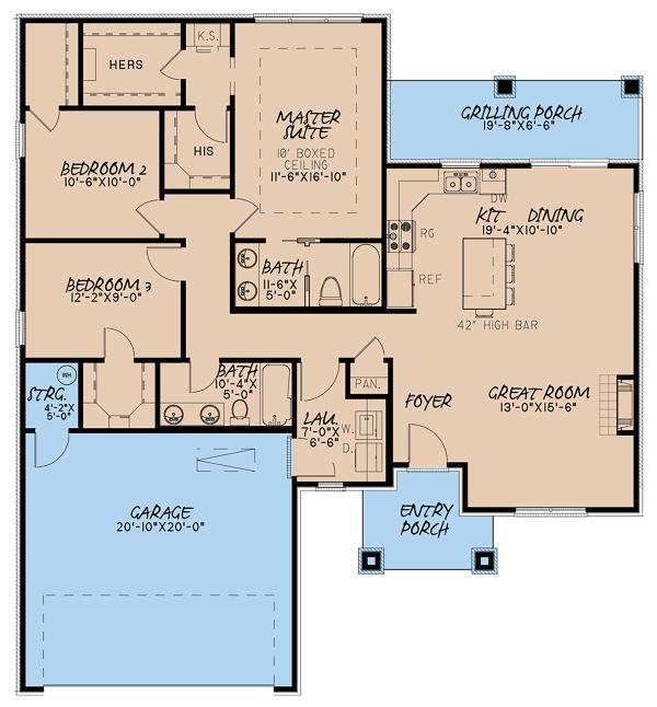 Contemporary Floor Plan - Main Floor Plan Plan #923-140