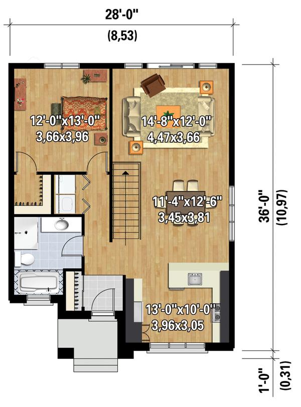 Contemporary Floor Plan - Main Floor Plan Plan #25-4538