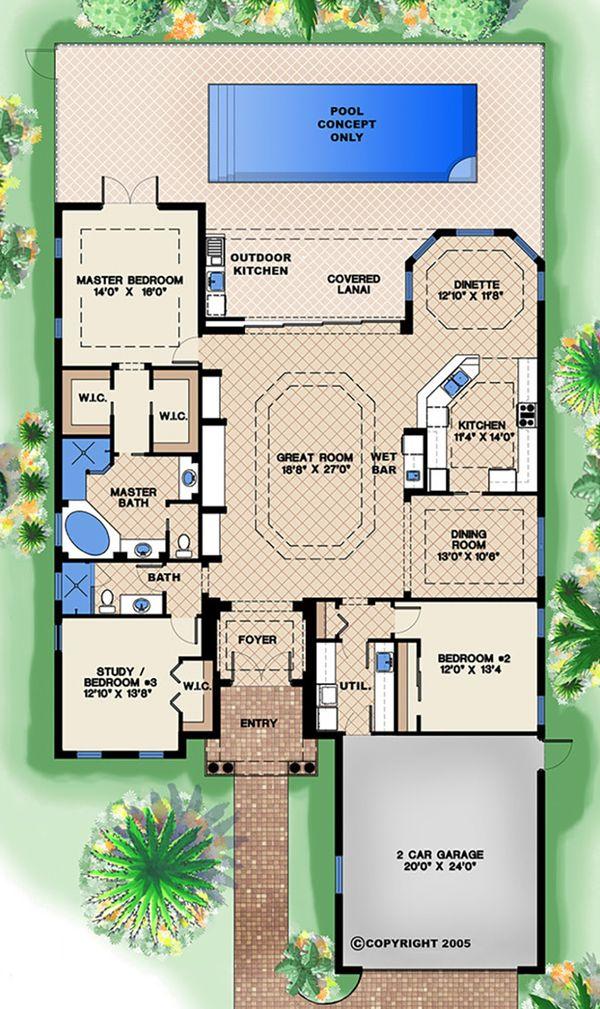 Mediterranean Floor Plan - Main Floor Plan Plan #27-509