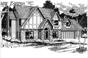 European Exterior - Front Elevation Plan #124-275