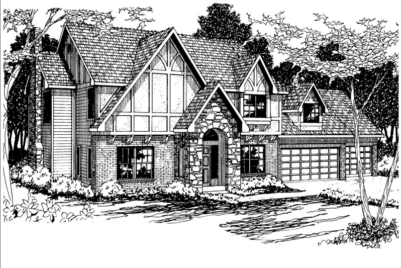 European Style House Plan - 4 Beds 2.5 Baths 2413 Sq/Ft Plan #124-275 Exterior - Front Elevation