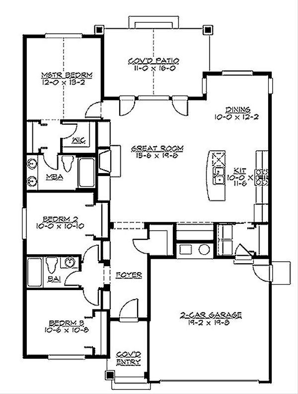 Traditional Floor Plan - Main Floor Plan #132-195