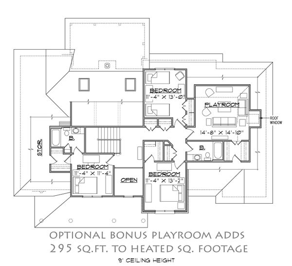 Farmhouse Floor Plan - Upper Floor Plan Plan #1054-26