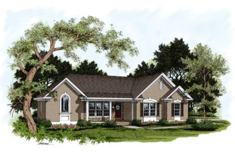 Traditional Exterior - Front Elevation Plan #56-166 - Houseplans.com