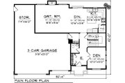 Mediterranean Style House Plan - 4 Beds 2.5 Baths 2189 Sq/Ft Plan #70-1095 Floor Plan - Main Floor Plan