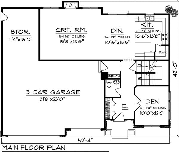 Mediterranean Floor Plan - Main Floor Plan Plan #70-1095