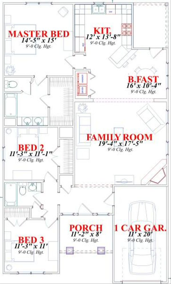 Craftsman Floor Plan - Main Floor Plan Plan #63-152