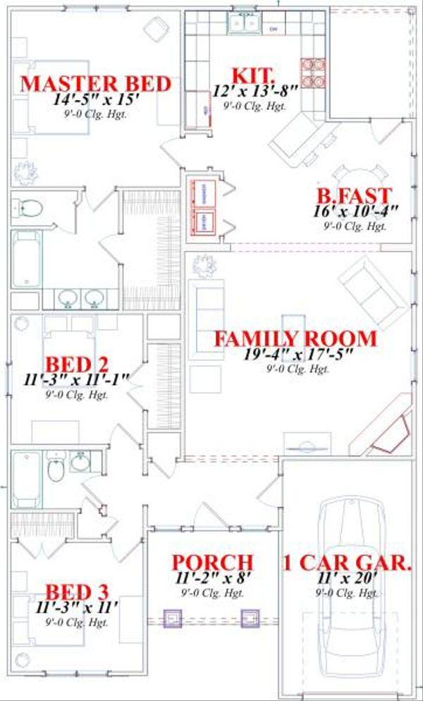 Craftsman Floor Plan - Main Floor Plan #63-152