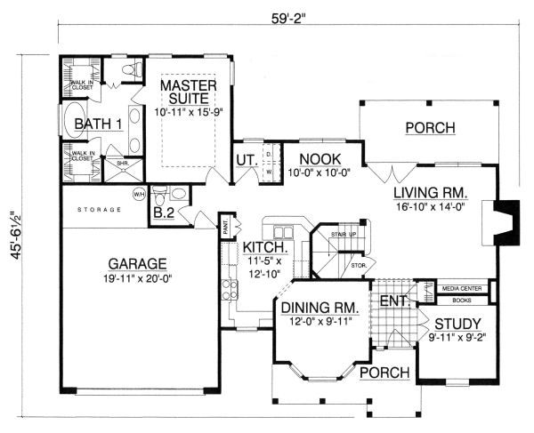 Traditional Floor Plan - Main Floor Plan #40-385