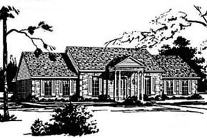Traditional Style House Plan - 4 Beds 2 Baths 2231 Sq/Ft Plan #36-198 Exterior - Front Elevation
